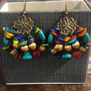 Boho multicolor beaded gypsy earrings